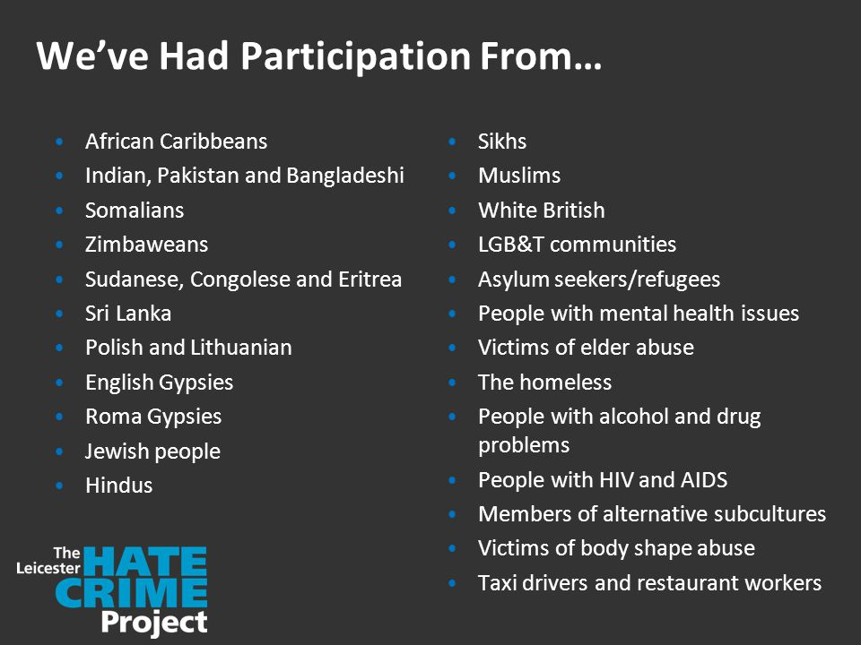 We've Had Participation From… African Caribbeans Indian, Pakistan and Bangladeshi Somalians Zimbaweans Sudanese, Congolese and Eritrea Sri Lanka Polish and Lithuanian English Gypsies Roma Gypsies Jewish people Hindus Sikhs Muslims White British LGB&T communities Asylum seekers/refugees People with mental health issues Victims of elder abuse The homeless People with alcohol and drug problems People with HIV and AIDS Members of alternative subcultures Victims of body shape abuse Taxi drivers and restaurant workers