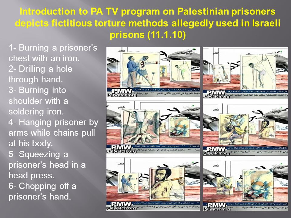 Introduction to PA TV program on Palestinian prisoners depicts fictitious torture methods allegedly used in Israeli prisons (11.1.10) 1- Burning a pri