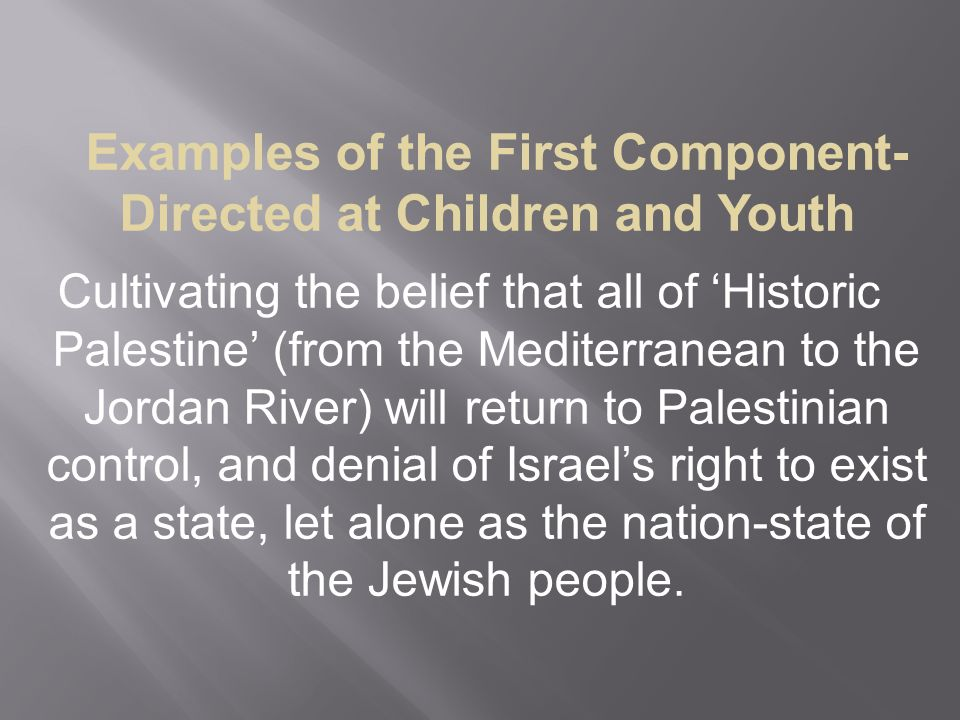 Examples of the First Component-Directed at Children and Youth Cultivating the belief that all of 'Historic Palestine' (from the Mediterranean to the