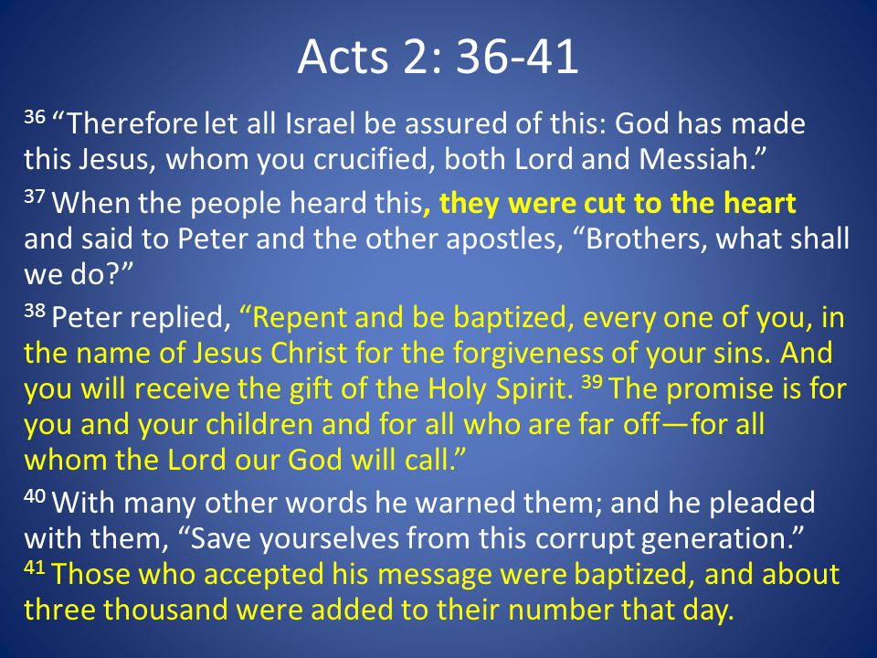 "Acts 2: 36-41 36 ""Therefore let all Israel be assured of this: God has made this Jesus, whom you crucified, both Lord and Messiah."" 37 When the people"