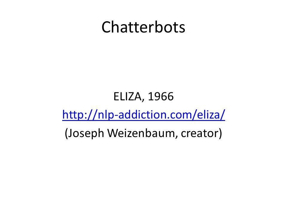 Chatterbots ELIZA, 1966 http://nlp-addiction.com/eliza/ (Joseph Weizenbaum, creator)