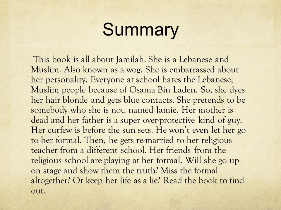 Summary This book is all about Jamilah. She is a Lebanese and Muslim.