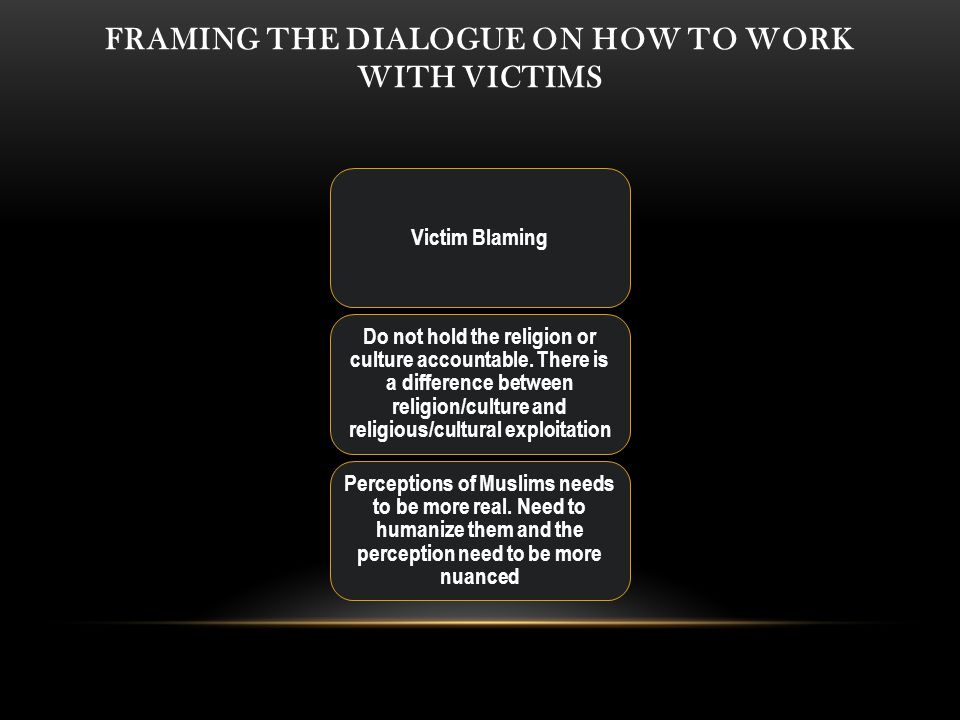 FRAMING THE DIALOGUE ON HOW TO WORK WITH VICTIMS Victim Blaming Do not hold the religion or culture accountable.