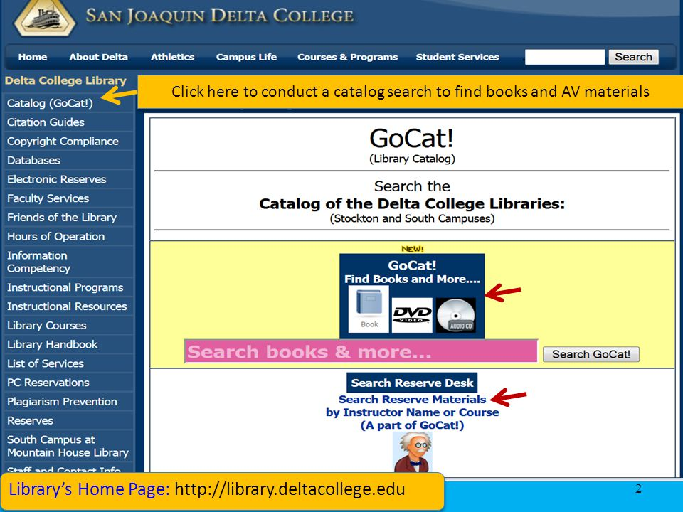 3 Click on the title to display the item info Conduct a keyword Search in GoCat to find books and AV materials