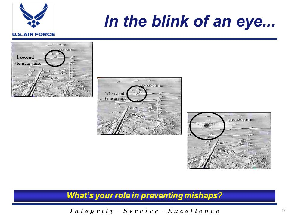 I n t e g r i t y - S e r v i c e - E x c e l l e n c e 17 In the blink of an eye...