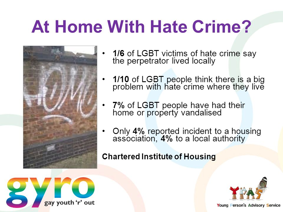 At Home With Hate Crime? 1/6 of LGBT victims of hate crime say the perpetrator lived locally 1/10 of LGBT people think there is a big problem with hat