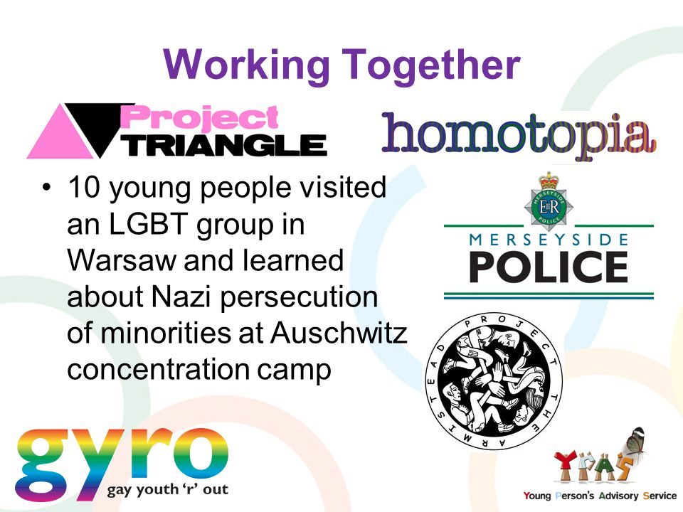 Working Together 10 young people visited an LGBT group in Warsaw and learned about Nazi persecution of minorities at Auschwitz concentration camp