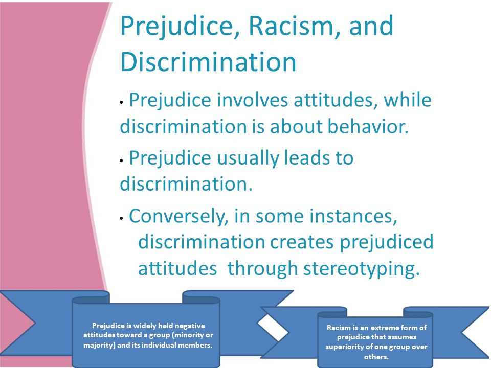 Prejudice, Racism, and Discrimination Prejudice involves attitudes, while discrimination is about behavior.