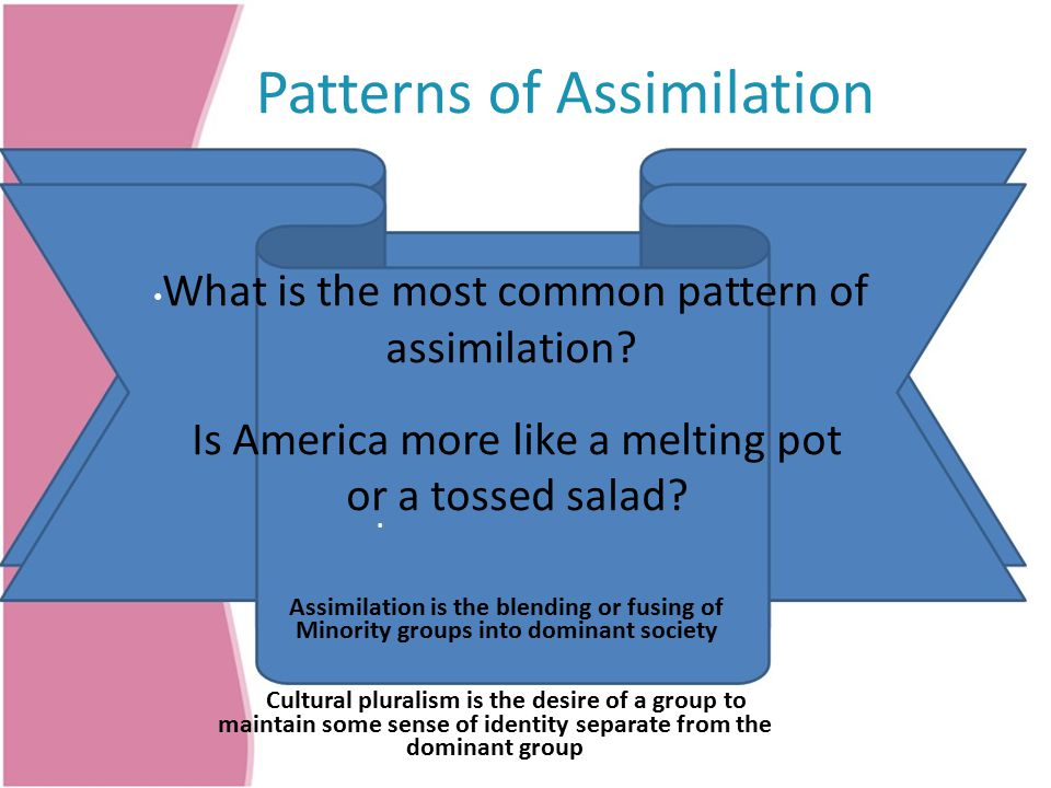 Patterns of Assimilation What is the most common pattern of assimilation.