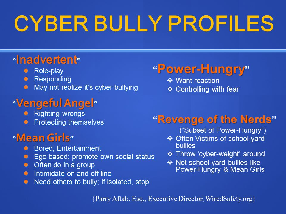 """CYBER BULLY PROFILES """" Inadvertent """" Inadvertent """" Role-play Role-play Responding Responding May not realize it's cyber bullying May not realize it's"""