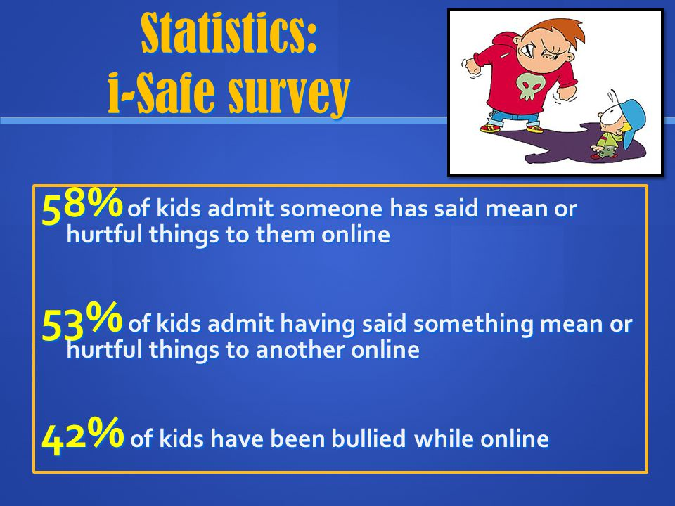 Hate Sites 50% had seen or heard of a hate site bashing of another student 75% had visited a hate site 450 – 500 : # of hard core hate sites on the internet right now.