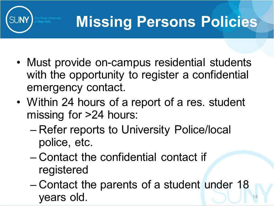 Must provide on-campus residential students with the opportunity to register a confidential emergency contact.