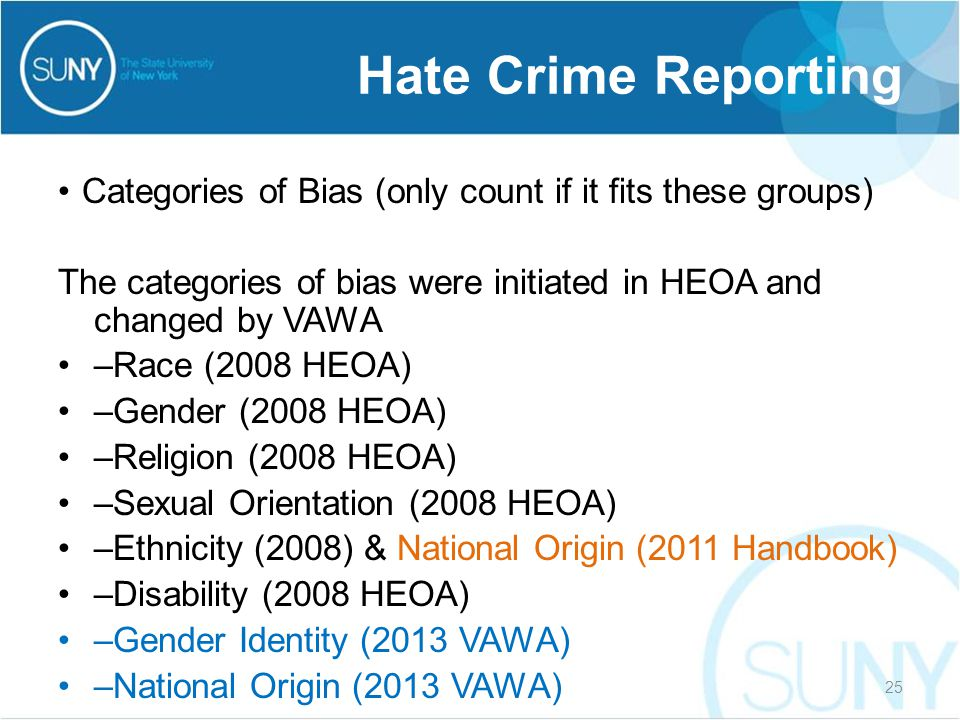 Categories of Bias (only count if it fits these groups) The categories of bias were initiated in HEOA and changed by VAWA –Race (2008 HEOA) –Gender (2
