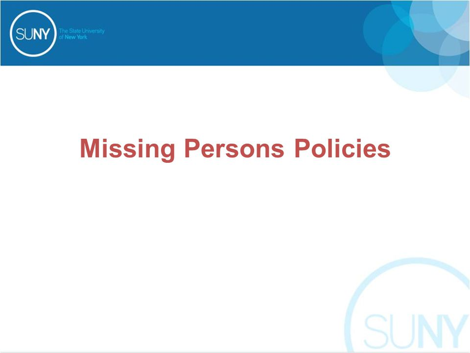 Missing Persons Policies
