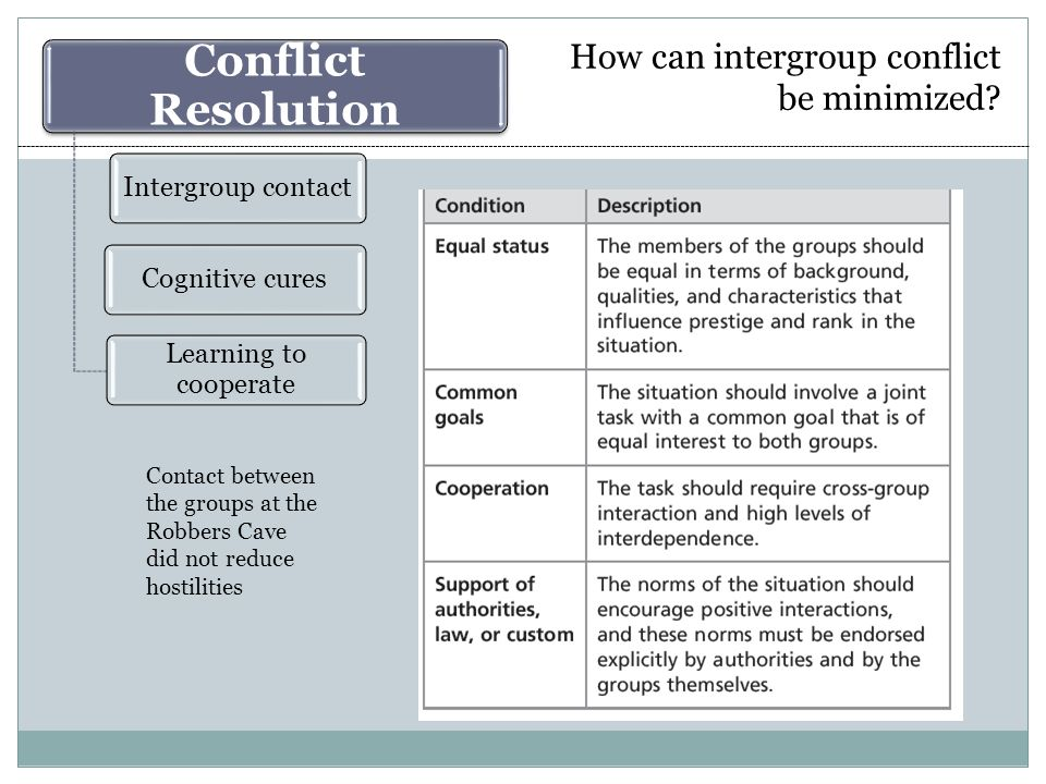 Intergroup contact Superordinate goals (worked at Robbers Cave) Successful cooperation A common enemy Online contact: The virtual contact hypothesis Friendships: The extended contact hypothesis Factors that augment the positive impact of intergroup contact Beyond the basic ingredients: Empirical findings