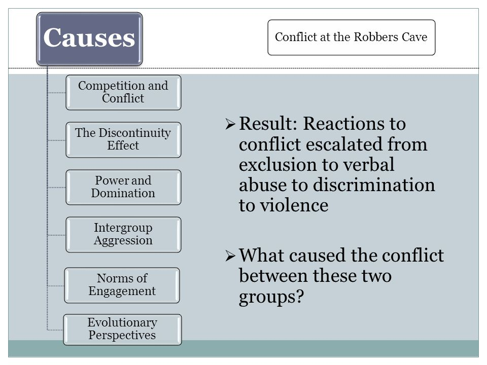 Causes Competition and Conflict The Discontinuity Effect Power and Domination Intergroup Aggression Norms of Engagement Evolutionary Perspectives  Result: Reactions to conflict escalated from exclusion to verbal abuse to discrimination to violence  What caused the conflict between these two groups.