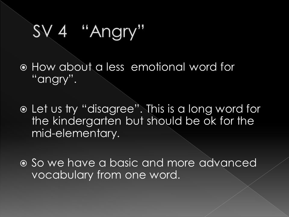  Now let us take some time to think of other words for angry .