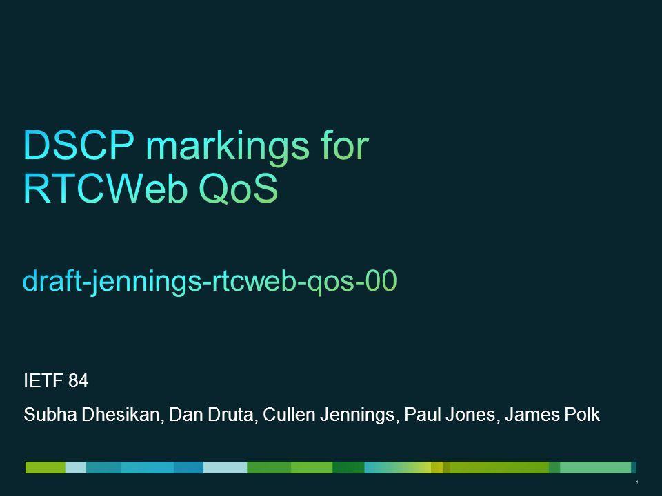 1 1 IETF 84 Subha Dhesikan, Dan Druta, Cullen Jennings, Paul Jones, James Polk