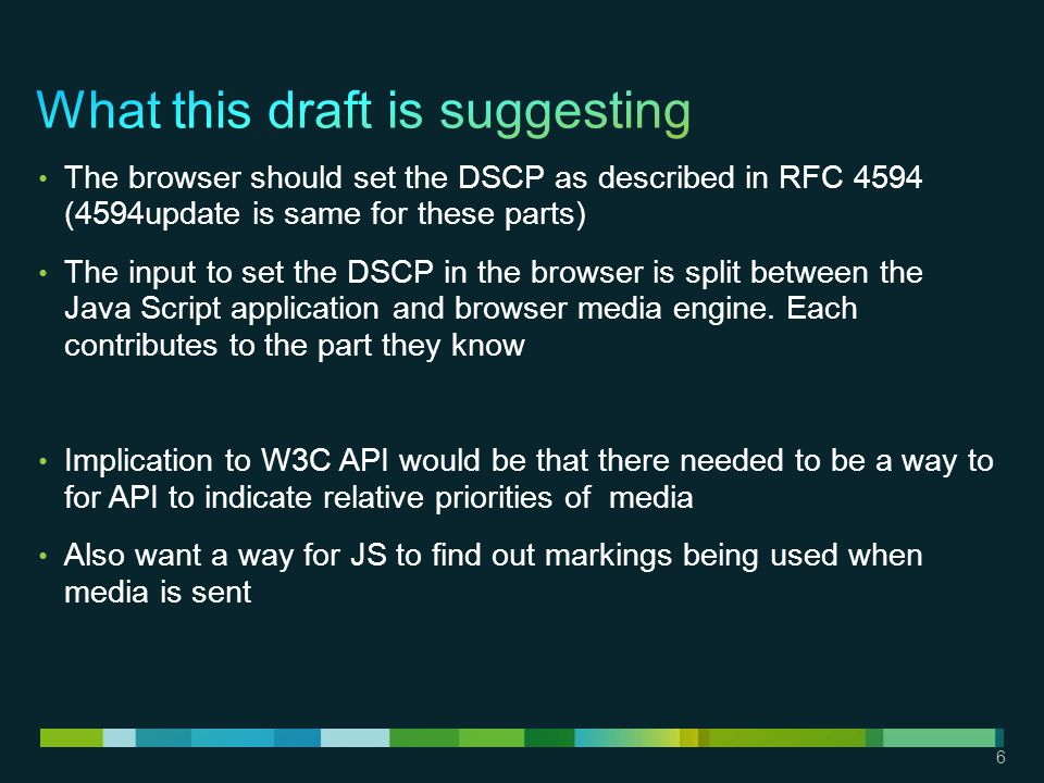 6 The browser should set the DSCP as described in RFC 4594 (4594update is same for these parts) The input to set the DSCP in the browser is split between the Java Script application and browser media engine.