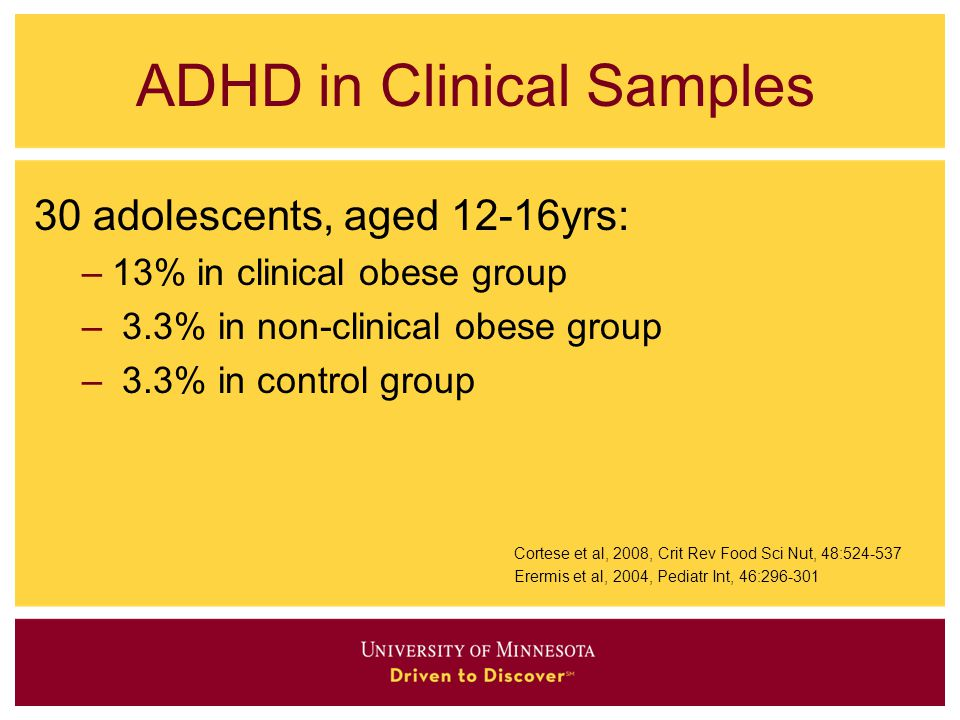 ADHD in Clinical Samples 30 adolescents, aged 12-16yrs: –13% in clinical obese group – 3.3% in non-clinical obese group – 3.3% in control group Cortes