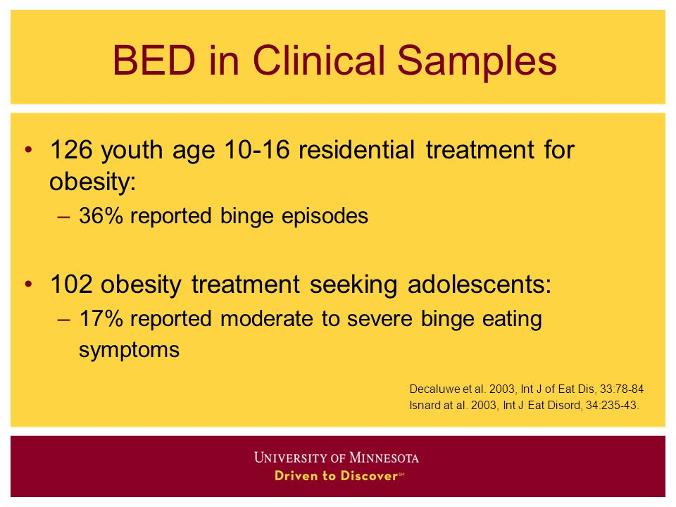 BED in Clinical Samples 126 youth age 10-16 residential treatment for obesity: –36% reported binge episodes 102 obesity treatment seeking adolescents: