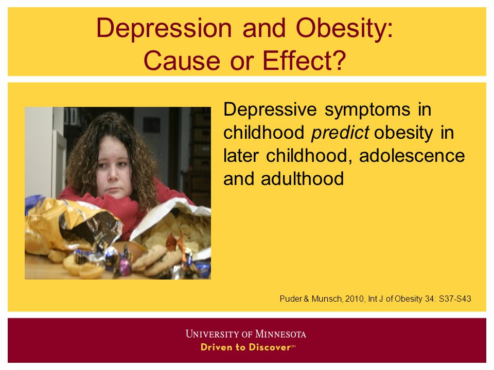 Depression and Obesity: Cause or Effect? Depressive symptoms in childhood predict obesity in later childhood, adolescence and adulthood Puder & Munsch