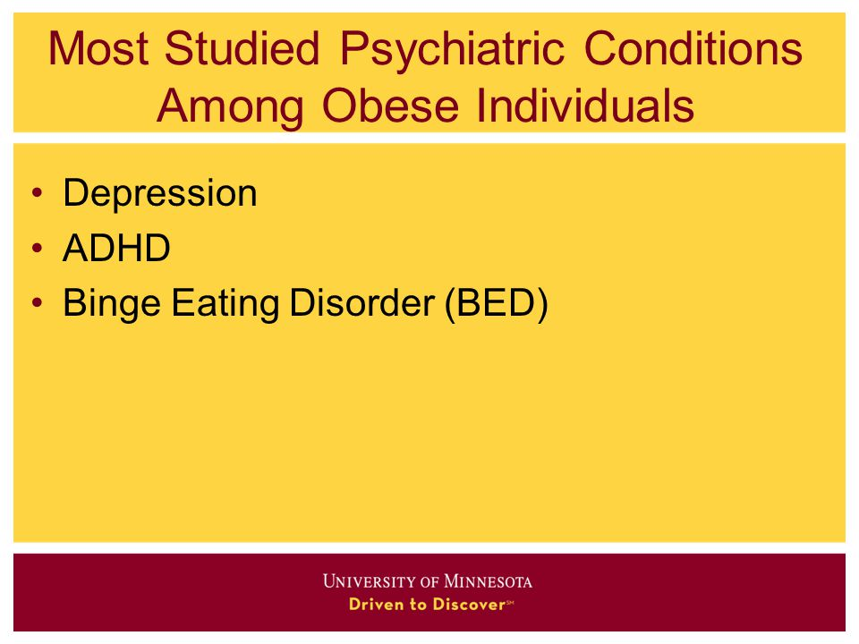 Most Studied Psychiatric Conditions Among Obese Individuals Depression ADHD Binge Eating Disorder (BED)