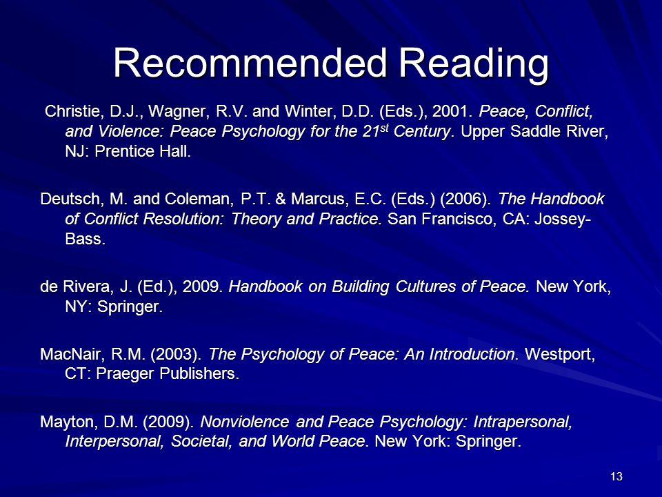 13 Recommended Reading Christie, D.J., Wagner, R.V.