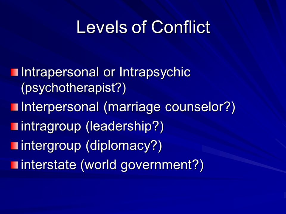 Levels of Conflict Intrapersonal or Intrapsychic (psychotherapist ) Interpersonal (marriage counselor ) intragroup (leadership ) intergroup (diplomacy ) interstate (world government )