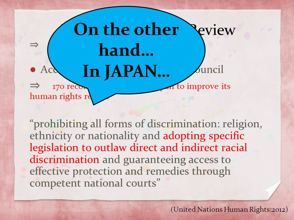 Universal Periodic Review ⇒ 48states are reviewed per year in a 4 year cycle According to the Human Rights council ⇒ 170 recommendations for Japan to