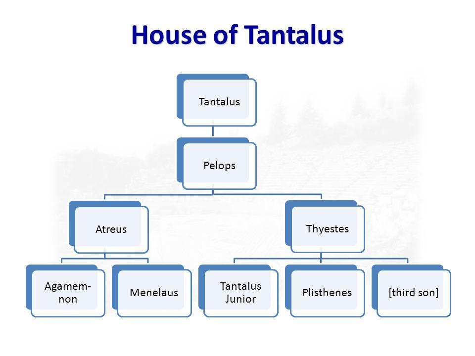 House of Tantalus TantalusPelopsAtreus Agamem- non MenelausThyestes Tantalus Junior Plisthenes[third son]