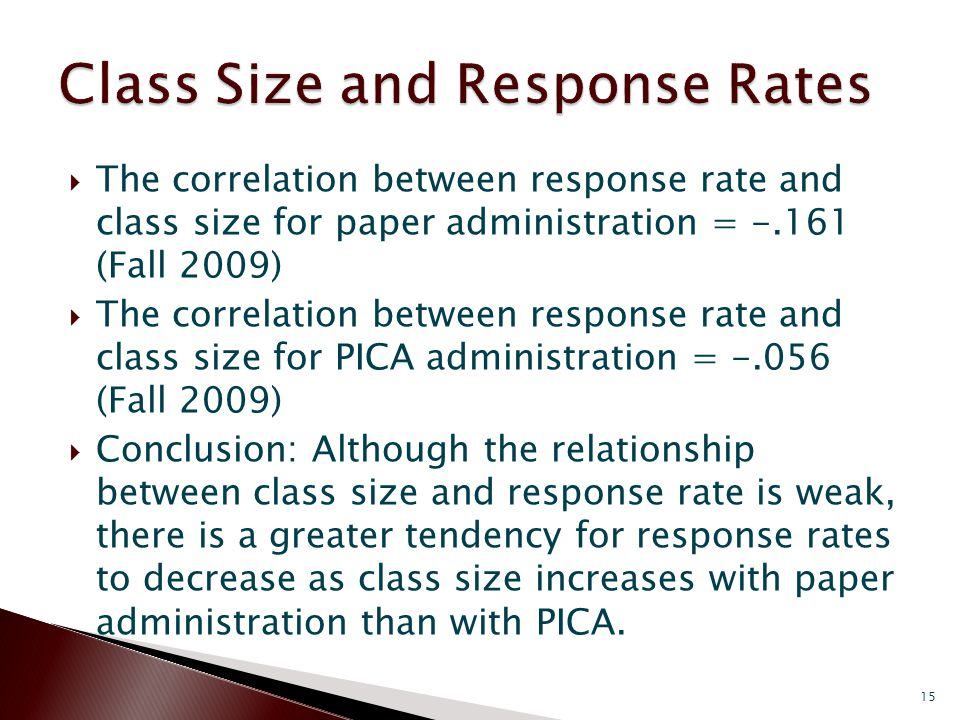  The correlation between response rate and class size for paper administration = -.161 (Fall 2009)  The correlation between response rate and class size for PICA administration = -.056 (Fall 2009)  Conclusion: Although the relationship between class size and response rate is weak, there is a greater tendency for response rates to decrease as class size increases with paper administration than with PICA.