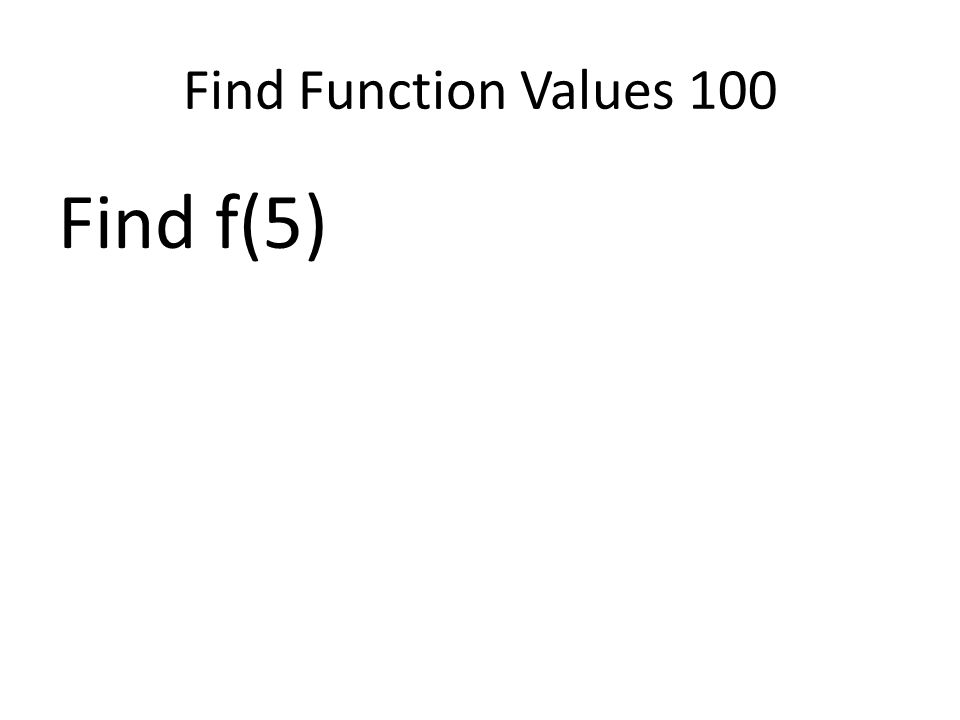 Find Function Values 100 Find f(5)