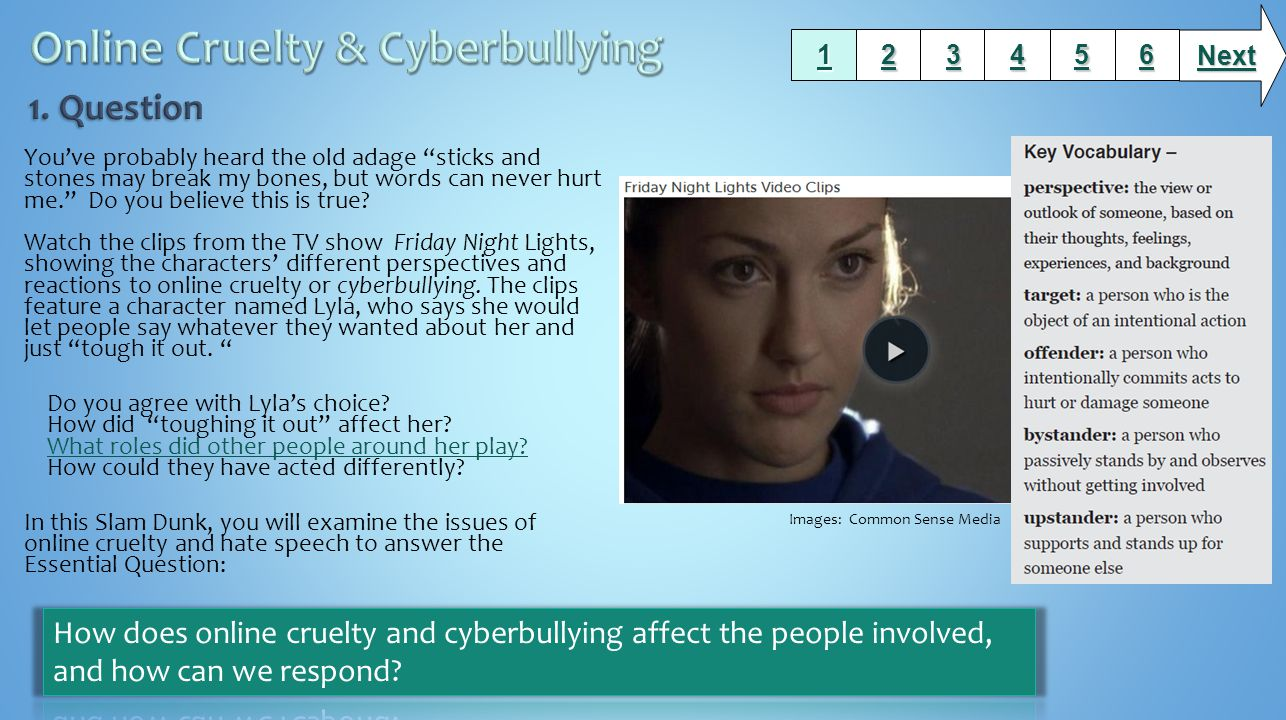 Review these resources about online cruelty, including cyberbullying and hate speech.