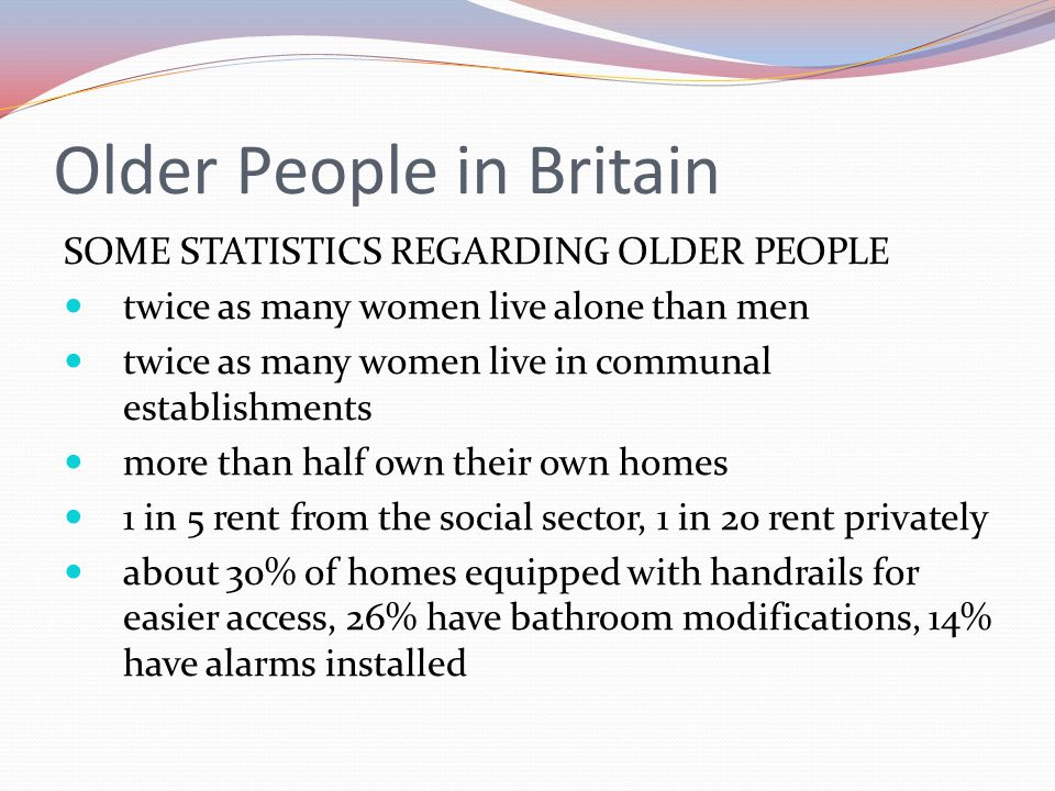 Older People in Britain SOME STATISTICS REGARDING OLDER PEOPLE twice as many women live alone than men twice as many women live in communal establishments more than half own their own homes 1 in 5 rent from the social sector, 1 in 20 rent privately about 30% of homes equipped with handrails for easier access, 26% have bathroom modifications, 14% have alarms installed