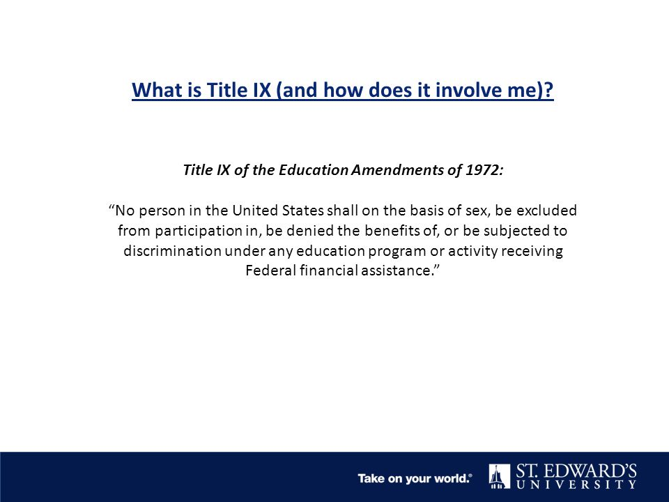 What is Title IX (and how does it involve me).