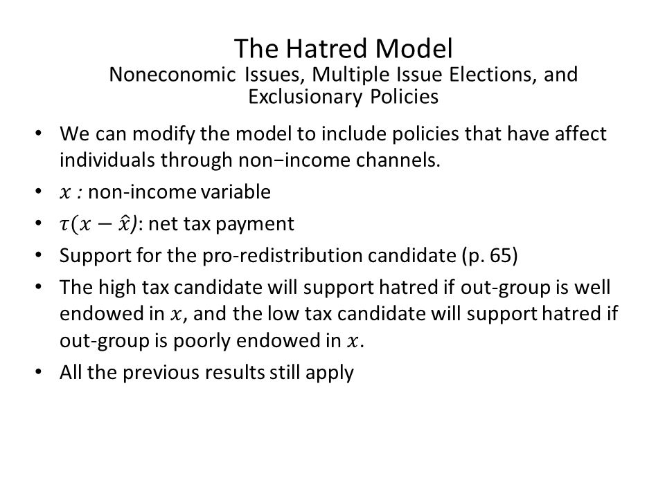 The Hatred Model Noneconomic Issues, Multiple Issue Elections, and Exclusionary Policies