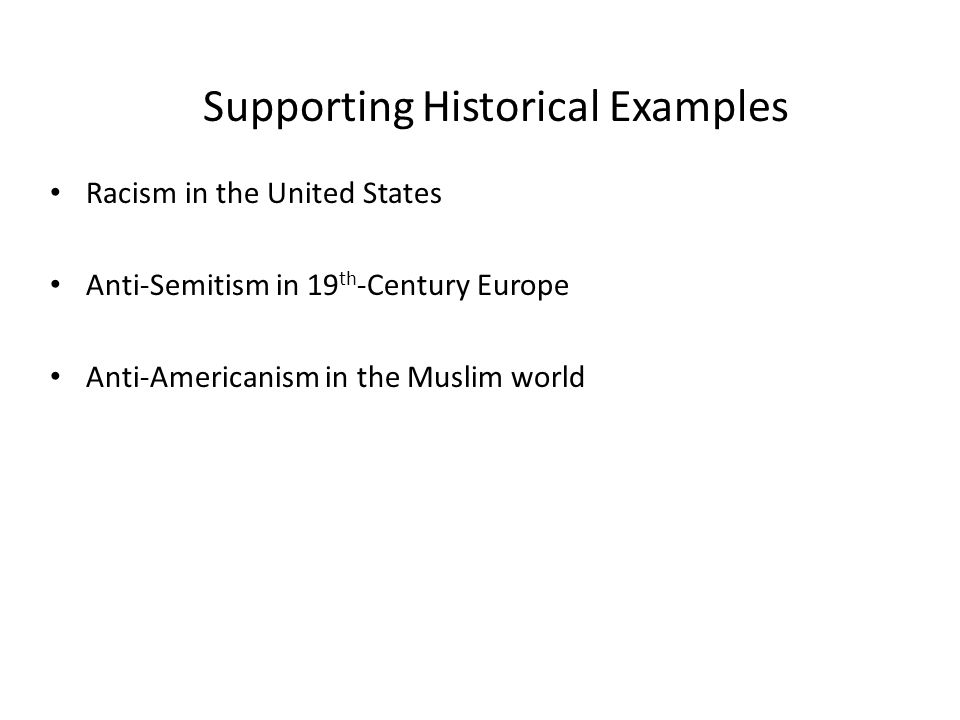 Supporting Historical Examples
