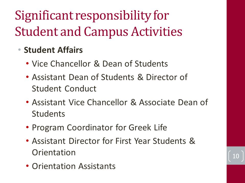 Significant responsibility for Student and Campus Activities Student Affairs Vice Chancellor & Dean of Students Assistant Dean of Students & Director of Student Conduct Assistant Vice Chancellor & Associate Dean of Students Program Coordinator for Greek Life Assistant Director for First Year Students & Orientation Orientation Assistants 10