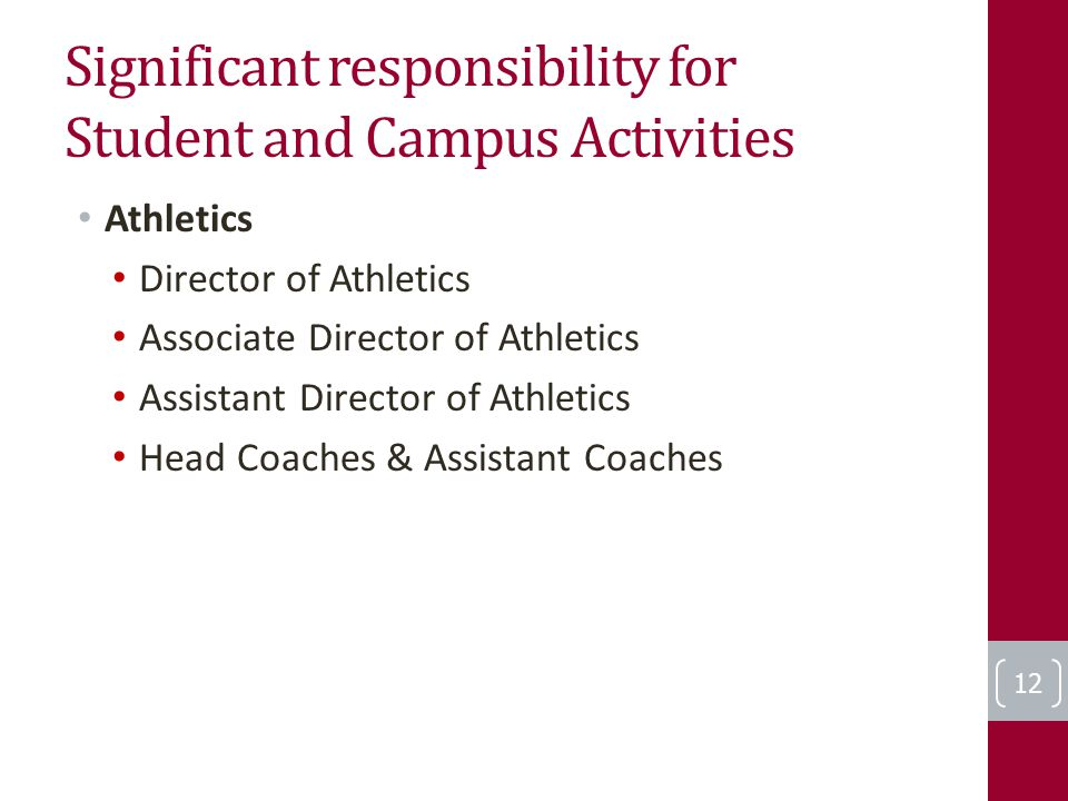 Significant responsibility for Student and Campus Activities Athletics Director of Athletics Associate Director of Athletics Assistant Director of Ath