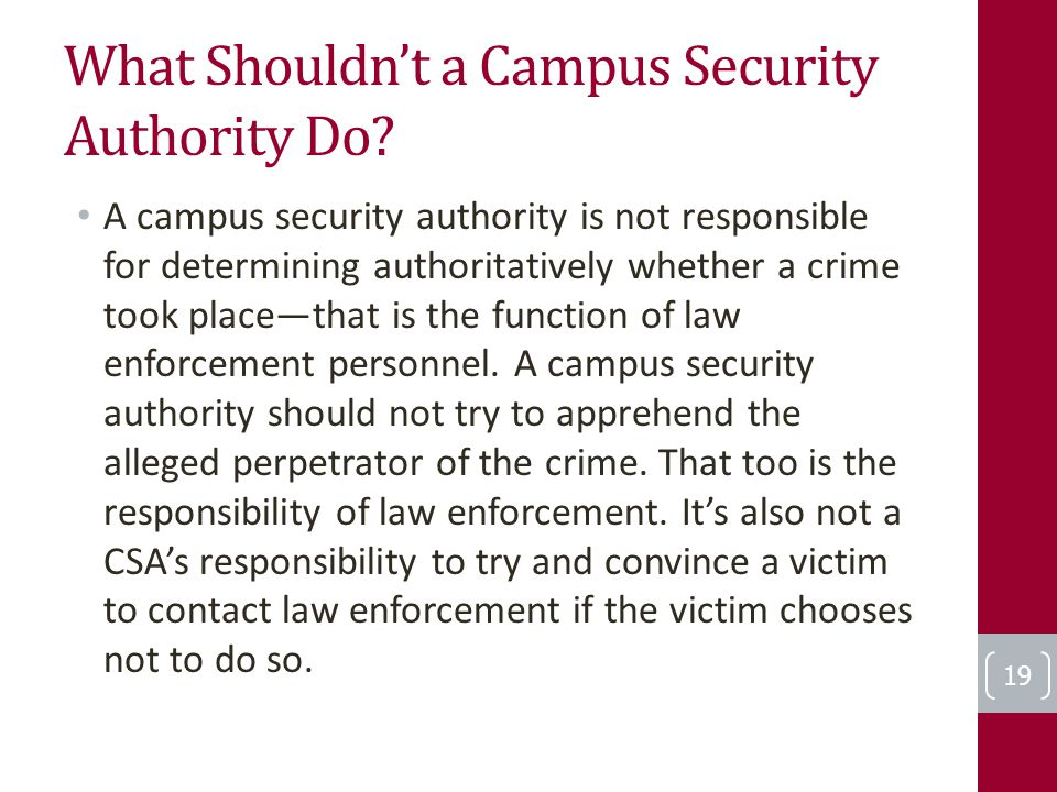 What Shouldn't a Campus Security Authority Do.