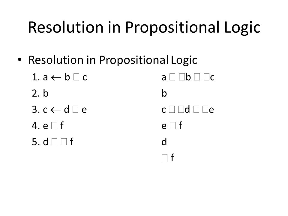 Resolution in Propositional Logic 1. a  b  ca  b  c 2. bb 3. c  d  e c   d   e 4. e  f e  f 5. d   fd  f