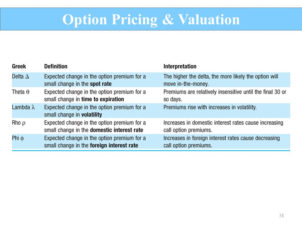 38 Option Pricing & Valuation