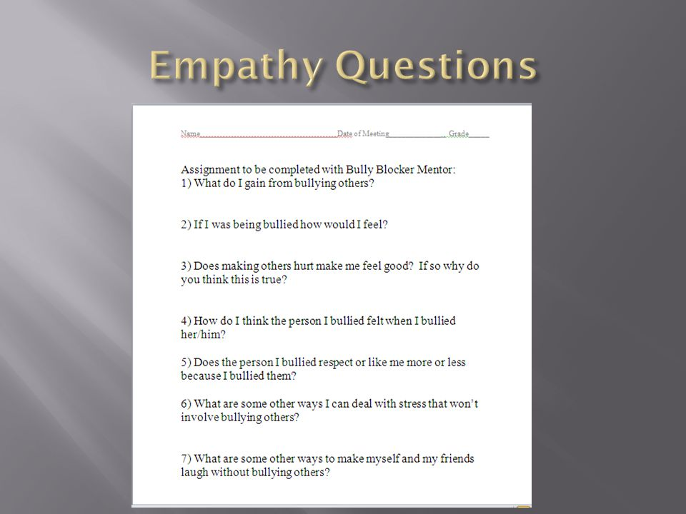  Once a person is found to be bulling I conference with them and go through our empathy invoking questions.