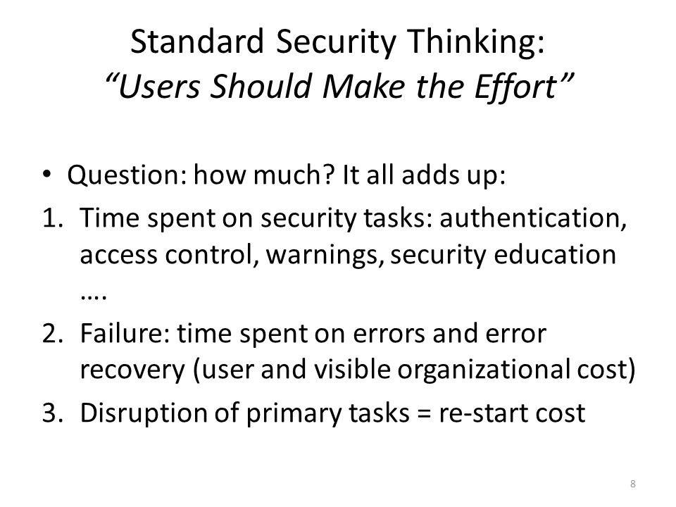 "Standard Security Thinking: ""Users Should Make the Effort"" Question: how much? It all adds up: 1.Time spent on security tasks: authentication, access"