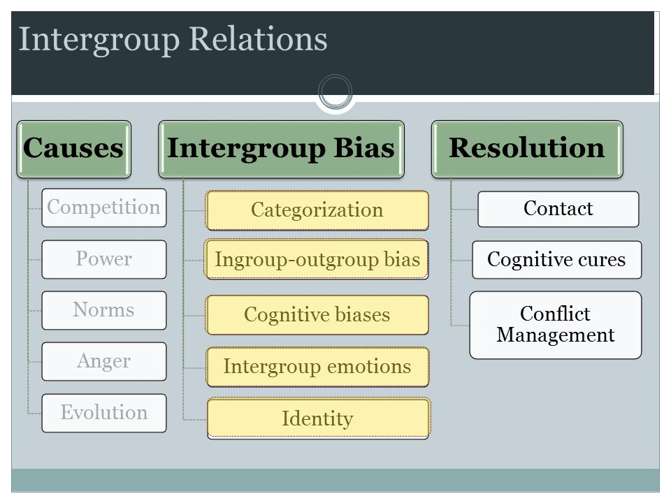 Intergroup Relations Causes CompetitionPowerNormsAngerEvolution Intergroup Bias CategorizationIngroup-outgroup biasCognitive biasesIntergroup emotionsIdentity Resolution Contact Cognitive cures Conflict Management