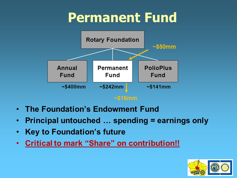 Permanent Fund The Foundation's Endowment Fund Principal untouched … spending = earnings only Key to Foundation's future Critical to mark Share on contribution!.