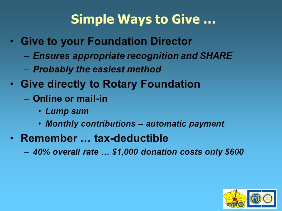 Simple Ways to Give … Give to your Foundation Director –Ensures appropriate recognition and SHARE –Probably the easiest method Give directly to Rotary Foundation –Online or mail-in Lump sum Monthly contributions – automatic payment Remember … tax-deductible –40% overall rate … $1,000 donation costs only $600