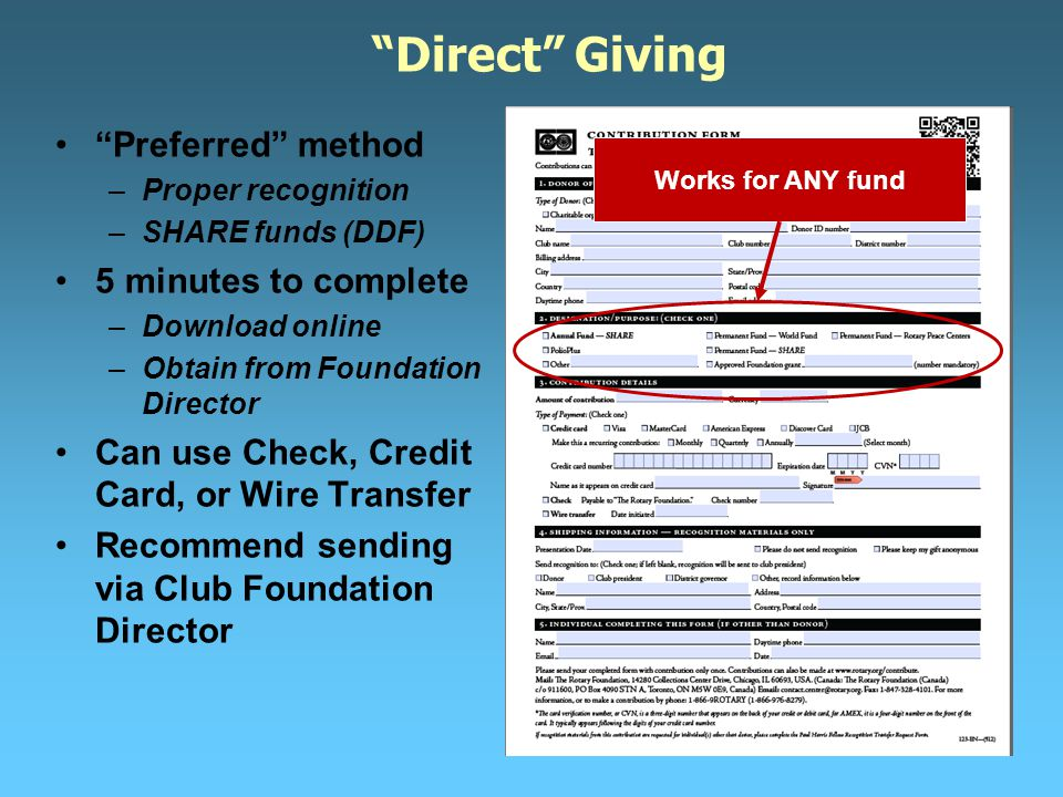 Direct Giving Preferred method –Proper recognition –SHARE funds (DDF) 5 minutes to complete –Download online –Obtain from Foundation Director Can use Check, Credit Card, or Wire Transfer Recommend sending via Club Foundation Director Works for ANY fund