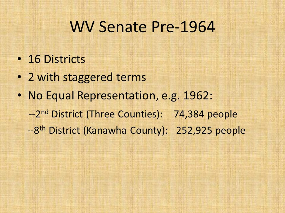 WV Senate Pre-1964 16 Districts 2 with staggered terms No Equal Representation, e.g.